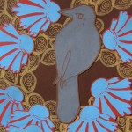 Bird Flower Brown Blue Print Collage by Steph Toth Kates